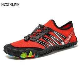 Zapatos aqua de goma online-HZXINLIVE 2019 Zapatos para mujer Pisos Playa Verano Pisos de natación al aire libre en Surf Secado rápido Aqua Mesh Zapatos de goma Zapatos Mujer