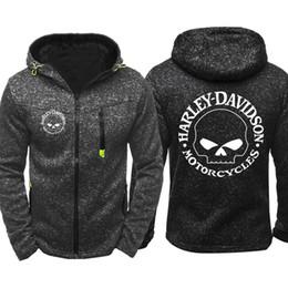 Spring fall jackets men s online-Harley logo Stampa Uomo Abbigliamento sportivo Casual Felpe con cappuccio Zipper Fashion Trend Jacquard Autunno Felpe Primavera Autunno Giacca Cappotto Tops Tops