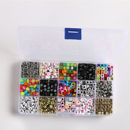 acrylic alphabet cube Promo Codes - Cheap retro square oval multicolor English alphabet loose beads set children DIY perforated beaded series boxed
