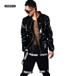 Men Black Patent Leather Jacket Coat custom made Stage Rock Hip-hop Costumes  Nightclub Bar DJ Singer Clothing D19010502 a67f77523dc4