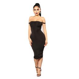 Vestidos de festa ajustados on-line-Algodão macio esticar vestidos de festa preto plus size magro sexy clube desgaste vestido Sexy apertados-hips vestido