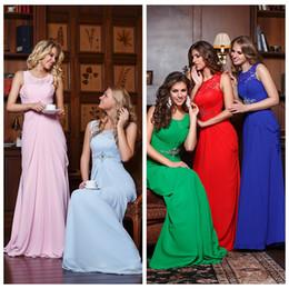 Hochzeitskleid einfache spalte online-Einfache Chiffon Jewel Neck Spalte Brautjungfer Kleider Lace Applique Sleeveless Brautjungfer Kleid für Hochzeitsfeier 2019