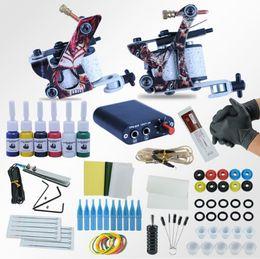 Machines de tatouage Power Box Set 2 pistolets Encres immortelles pour couleurs Aiguilles pour accessoires Kits de finition ? partir de fabricateur