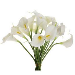 Argentina 10 unids simulación Calla Lily Artificial flor PU Real decoración del hogar flores Wedding Party Bouquet flores decorativas P0.01 Suministro