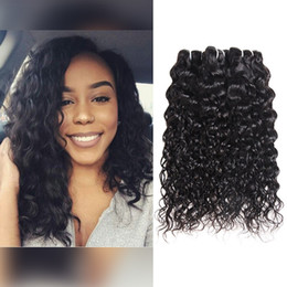 unprocessed human hair natural wavy Coupons - Wholesale Brazilian Water Wave 4Bundles Hair Weft Unprocessed Wet and Wavy Virgin Hair Extensions 8A Brazilian Human Hair Bundles Weave