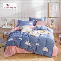 Ropa de cama de impresión activa online-SlowDream Fashion Art Reed Bedding Set Elegante y elegante Funda nórdica de lujo Impresión activa Ropa de cama Sábanas planas Ropa de cama doble
