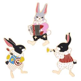 аккордеонный подарок Скидка Булавки и броши Музыкант банджо / аккордеон / труба кролик булавка Банни булавки Кролик ювелирные изделия Симпатичные подарки каваи
