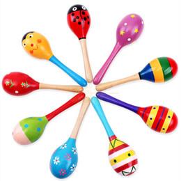 Colorido De Madeira Dos Desenhos Animados Maracas Brinquedos Orff Instrumentos Musicais De Areia De Madeira Martelo Exercício Sino Auditivo para brinquedos das crianças de