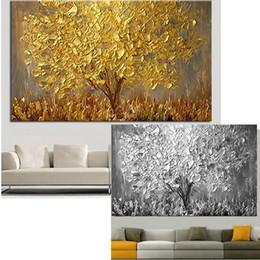 Grandi quadri ad albero online-New Handmade Grande Tela Moderna Pittura A Olio Coltello Golden Tree Dipinti Per La Casa Soggiorno Hotel Decor Wall Art Immagine J190707