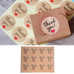 Kuchenanhänger online-120pcs Süßigkeit Papiermarken / danken Ihnen Liebe Selbstklebende Aufkleber Kraft-Aufkleber für DIY handgemachtes Geschenk-Kuchen Party Supplies Valentinstag