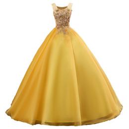 2019 Moda Amarillo Apliques Vestido De Bola Vestidos De Quinceañera Con Cordones Más El Tamaño Dulce 16 Vestidos Debutante 15 Años Vestido De Fiesta
