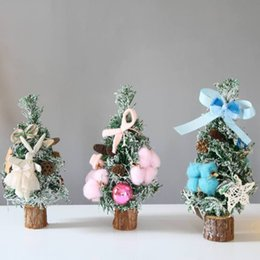 Круглый стол онлайн-Mini Artificial Christmas Tree with Round Wood Base Desk Table Display Ornaments Xmas Holiday Gift Decorations 10 inch