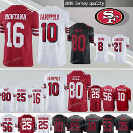 maillots de football san Promotion 10 Maillots Jimmy Garoppolo San Francisco 49er 80 Jerry Rice 16 Joe Montana 25 Richard Sherman 56 Maillot Reuben Foster 2019 hommes