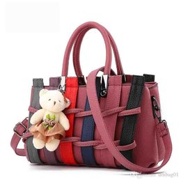 2020 korean bear bag Crary2019 7colours Wählen Sie Sweet Crochet Korean Pop Handtaschen Weave Kontrast Farbe Tote Noble Designer Schultertasche Bär Crossbody Bag günstig korean bear bag