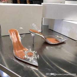 Talons bas en Ligne-Nouveau printemps 2019 avec des sandales en cristal pour femme, Trend is low-cut, chaussures transparentes pointues, sandales à talons hauts Hauteur du talon 8 cm