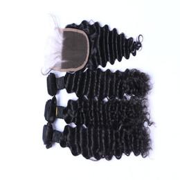 Fasci di capelli vergini brasiliani da 9A con chiusura a onda profonda non trattata da
