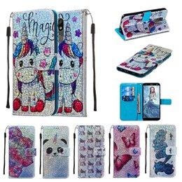Einhorn schmetterling panda schmetterling muster leder kartensteckplatz ständer brieftasche case für iphone xs max xr 6 7 8 plus samsung s10 plus hinweis 10 pro von Fabrikanten