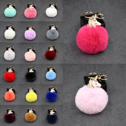 Llaveros niña online-Diseñador de lujo llavero lindo Unicornio bola llavero de oro llaveros del coche bolso colgante llavero de piel de felpa para las niñas regalos de cumpleaños M131Y