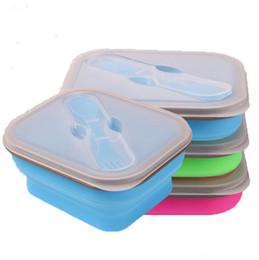 japão saco de plástico Desconto 600ML Outdoor portátil dobrável almoço boxs Silicon Microondas Louça Lunchbox Bowls Container bebê Crianças Caixa Pratos YYSY350
