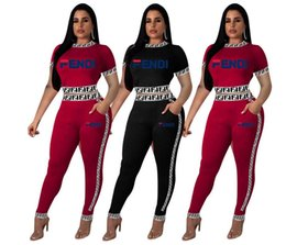 jogging pants zipper Coupons - Women's BEAUTY Letter Outfit Sexy Tracksuits Crop Top Tees+flouncy Pants Casual Sports Wear Club Suit Ladies Jogging Suits