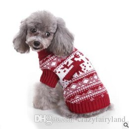 santa sweater Promo Codes - Christmas Striped Turtleneck Knitted Sweater For Dog Clothes Warm Xmas Santa Claus Pet Dog Sweater Clothing Coat Classic Pet Outfit S-2XL