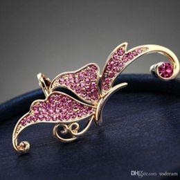 2019 orecchini orecchini dell'elfo Orecchini farfalla rosa crytal elfo polsino dell'orecchio non forato orecchini clip gioielli polsino per le donne regalo DROP NAVE 170138 orecchini orecchini dell'elfo economici