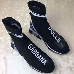 señoras corriendo zapatos de goma Rebajas 2019 más nuevas mujeres de marca de tela multicolor zapatillas de deporte de dama negro estiramiento Knit Running suela de goma zapatos deportivos 35-45