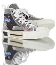 Placa de sapato on-line-2019 Mais Novo Designer De Luxo Sapatos B23 Oblíqua Alta Top Tênis Das Mulheres Dos Homens de Boa Qualidade Transparente Impresso Alta Cilindro Placa Sapatos 35-44