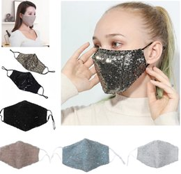 Mode-design-maske online-Sequin Safe Breathing Mouth Masks Collapsible Respirator Anti Dust Breathable Face Mask Multi Color Fashion Design HH9-3032