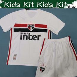 Camisola de jersey de futebol 15 16 on-line-2019 2020 São Paulo Kid Kits de Casa de Futebol Jersey 19 20 # 7 PATO # 15 HERNANES # 9 PABLO Menino Camisa De Futebol Com Shorts