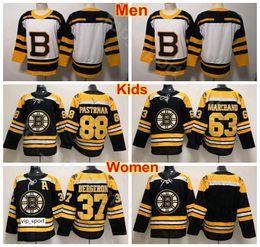 Kinderhockey trikot online-Herren Damen Jugend Boston Bruins Jersey Eishockey 37 Patrice Bergeron 63 Brad Marchand 88 David Pastrnak Damen Trikots Black Man Kids Children
