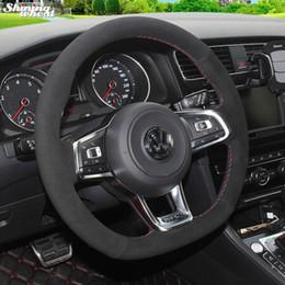 2019 vw golf gti volante Capa de volante de camurça preta BANNIS para Golf 7 GTI Golf R 7 VW Polo GTI Scirocco 2015 2016 vw golf gti volante barato