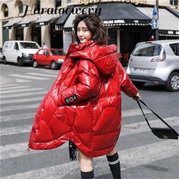 Winter weiße Ente Feder Lange Damen Daunenjacke 2019 New Hooded Zipper lösen großes Schwarz Rot Weiß Damen Glossy Jacke
