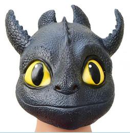 Jouets pour adultes dragon en Ligne-Comment former votre masque de dragon 3 Enfants adultes Halloween Halloween cosplay de fête Sans dents Couvre-chef en latex naturel Masques Jouets GGA1683