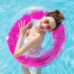 2019 aqua matten Strandnetz roter transparenter Federschwimmring Erwachsener dicker aufblasbarer transparenter PVC-Schwimmring