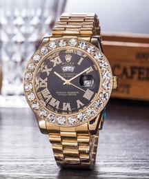 Banda de reloj 18k online-2005 Famosa marca de fábrica superior 44mm ROLEX 18K Presidente de oro Día-Fecha banda de cuarzo reloj Hombres Dial Grandes Diamantes Reloj de pulsera para hombre