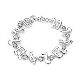 2019 note musicali braccialetto d'argento Romanzo progettato bracciali S925 argento placcato Nota musicale modello Link Chain Bracciale Accessori gioielli alla moda compleanno Prom regalo POTALA242 sconti note musicali braccialetto d'argento