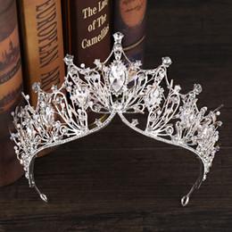 Handgemachte tiaras online-Kristall Große Tiara Und Kronen Luxus Strass Braut Haarschmuck Für Frauen Handgemachte Königin Prinzessin Hochzeit Haarschmuck