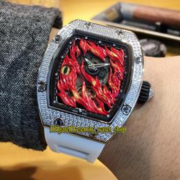 2019 bracelet en caoutchouc Nouveau Design Unique RM26-02 Evil Eye Cadran Rouge Japon Miyota Automatic RM 26-02 Montre Homme Diamants Argentés Bracelet Caoutchouc Blanc bracelet en caoutchouc pas cher
