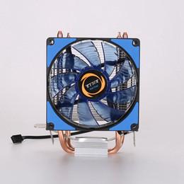 Cpu fan kühler led online-HOT-CPU Cooler 2 Heatpipes Blaue LED CPU Lüfter Lüfter Computer Lüfter Kupfer Aluminium Kühlkörper für LGA 775 / 115x / AM2 / 3/4 x79