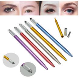 Canetas de bordar de sobrancelhas on-line-Caneta Microblading Máquina de Tatuagem Permanente maquiagem Sobrancelha Caneta Manual 3D Sobrancelha Lábio Bordado Dica Titular Ferramenta