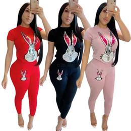 Treinadores de treino de lantejoulas on-line-Mulheres Lantejoulas Sportswear coelho imprimir treino T-shirt + Leggings Conjunto de Duas Peças de Manga Curta Tee Top Bodycon Pant Outfits LJJA2553