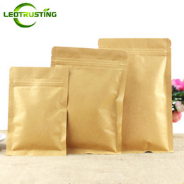 Leotrusting 100 pçs / lote Resealable Fundo Plano Kraft Ziplock Embalagem Saco De Papel De Papel Zip Bolsa De Café Em Pó de Presente Sacos De Armazenamento De Papel de