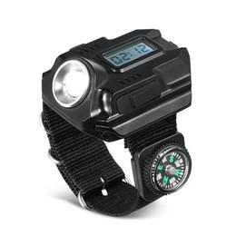 2019 carga da luz da tocha Camping Mão Estilo Lanternas Com Bússola de Cor Pura de Carregamento USB Ajustável Luz De Pulso Luzes Da Tocha Lâmpadas de Relógio 3qt E1 desconto carga da luz da tocha