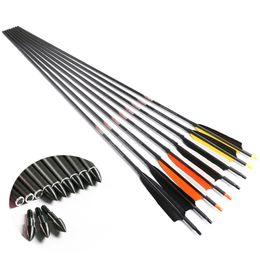"""12PCS 30/"""" Carbon Shaft Arrows SP340 7.6mm Plastic Feather F Compound bow Archery"""