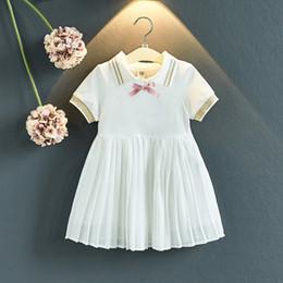 elastisches baumwoll-kurzarm-kleid Rabatt Kinder Mädchen Sommer Kleid Kurzarm elastisches Hemd Kleid Kinder Designer Kleider Bow Crown Anhänger Krawatte Soild Plissee Cotton Kleid
