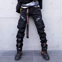 Leder hosentaschen online-Männer High Street Fashion Leather Pocket Splice Lässige Cargo Pant Male Hip Hop Haremshosen lange Hose