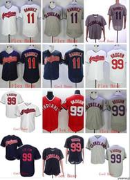 pulôver indiano Desconto Atacado venda quente Indians # 11 RAMIREZ # 99 VAUGHN Coolbase Flexbase camisa de basebol do pulôver branco Camisas Costurado base Top Quality!