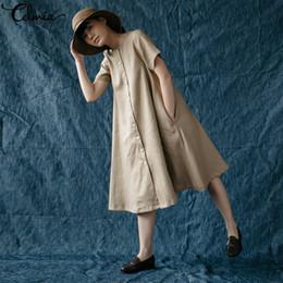 Vestidos de boneca vintage on-line-Venda Por Atacado mulheres vintage longo camisa dress 2019 verão casual manga curta mid-bezerro kawaii doll dress botões para baixo vestidos mujer