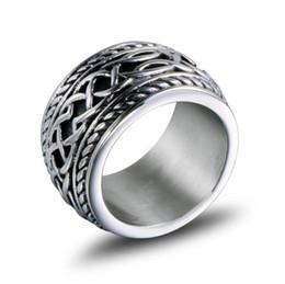 Anéis de casamento de 14mm on-line-14 MM Titanium Anel de Aço Moda Masculina Hip Hop Anéis Wedding Band Mens Designer de Jóias Por Atacado Frete Grátis